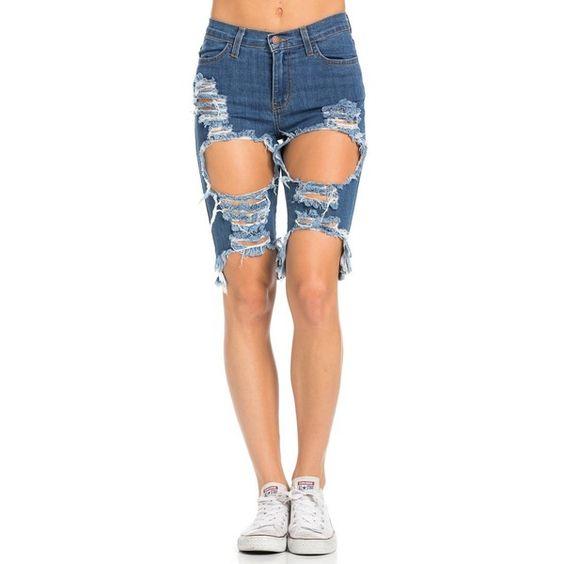 High Waisted Shredded Cut Off Bermuda Shorts in Dark Blue ($33 ...