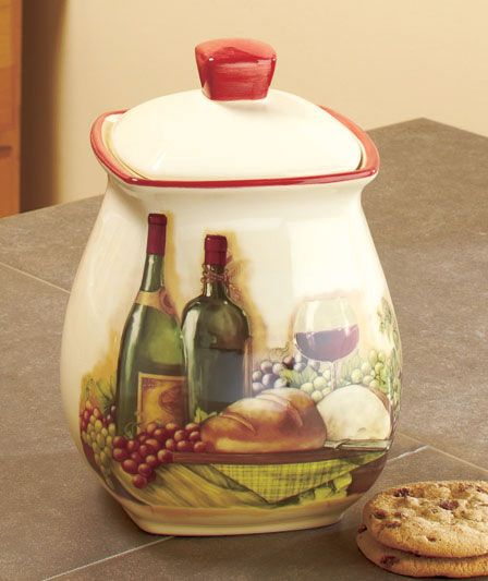 Vineyard cookie jar wine bottle glass grape tuscan theme for Wine and grape themed kitchen ideas