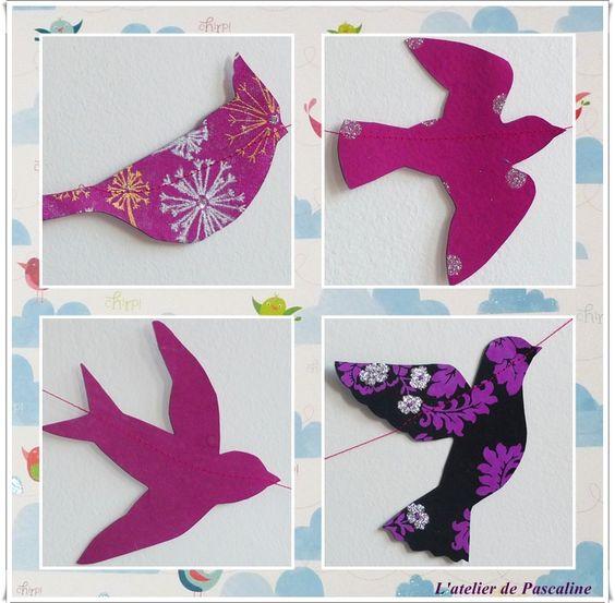 Guirlande oiseau en papier + patron (peuvent servir pour guirlande en feutrine)