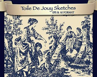 10 Toile De Jouy Vector Sketches EPS & AI Format