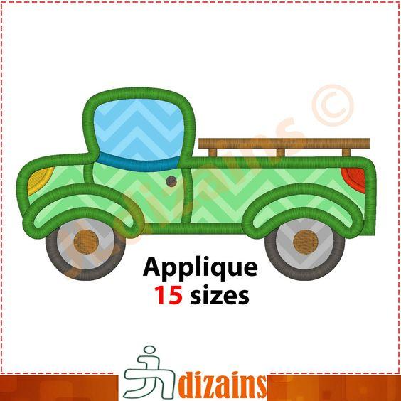 Pickup applique design. Machine embroidery design - INSTANT DOWNLOAD - 15 sizes. Pickup truck applique design. Pickup embroidery design by JLdizains on Etsy or www.alldayembroidery.com
