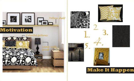 Black, White and Yellow Bedroom.
