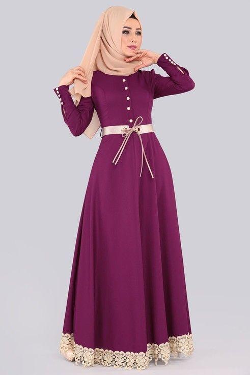 Modaselvim Bugune Ozel Etek Ucu Dantelli Elbise Msw8138 S Sarabi Simple Prom Dress Clothes For Women Hijab Fashionista