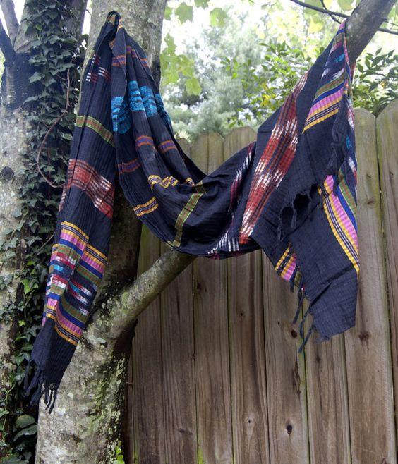 Black Vintage Ethnic Ikat Scarf or Wrap by thelittlegrasshut, $14.00