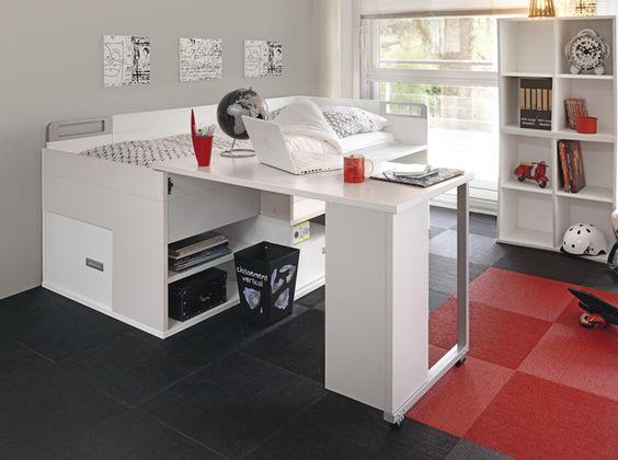 Inspiration mobilier alternative placer deux lits avec bureau int gr - Lit 160x200 avec rangement integre ...
