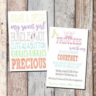 princess sugar & spice baby shower invitation-2 sided | all bout, Baby shower invitations