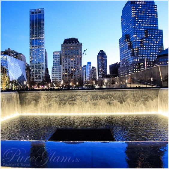 Beautiful 9/11 memorial - New York City with new World Trade Center - amazing large pools by night, NYC, Manhattan, WTC, remember