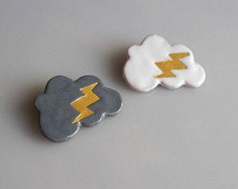 NUBES, nuages broche, broche & broche broche foudre, blanc gris or, céramique nuage, nuage de la foudre