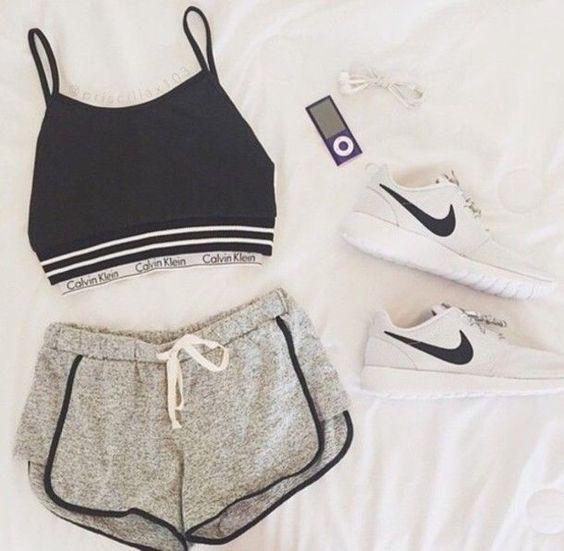 shorts black nike sportswear top shoes shirt
