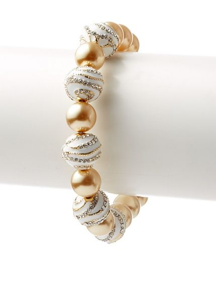 David Tutera Golden Sonya Glass Pearl & Crystal Bracelet at MYHABIT 27 dorado con oro