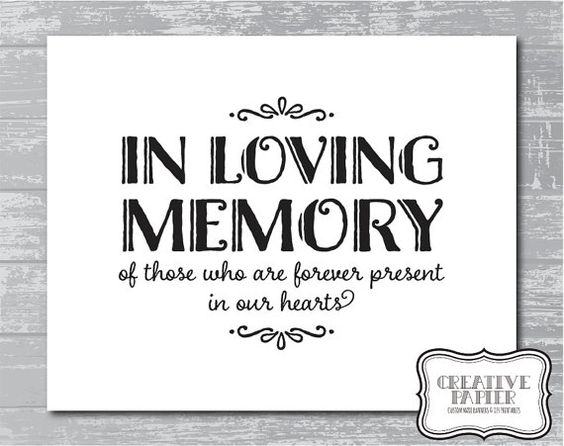 Instant download in loving memory sign 5x7 or 8x10quot diy wedding signage printable black for In loving memory free printable