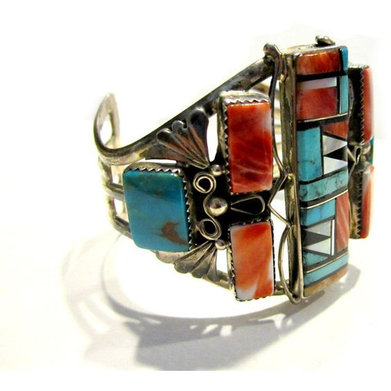Native American Bracelet Signed Benally Cuff Southwestern Coral... ($549) ❤ liked on Polyvore featuring jewelry, bracelets, native american turquoise jewelry, vintage american indian jewelry, vintage native american jewelry, native american coral jewelry and orange jewelry