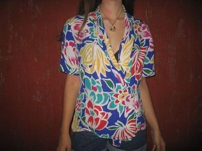 Colorful Floral 80s 90s Vtg Hipster Blouse S M - eBay (item 230652149631 end time Aug-02-11 00:53:00 PDT) - StyleSays