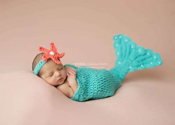 Adorable photography prop for little baby girls! This is crocheted with quality yarn.It is made using 100% acrylic soft yarn. ♥♥♥ This set includes A fancy mermaid tail & headband Newborn 12-14 Care Instructions:To keep your hats looking their best, hand wash in cold water with mild