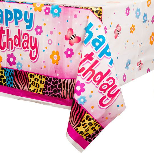 "Plastic Wild Birthday Party Table Cover, 84"" x 54"""