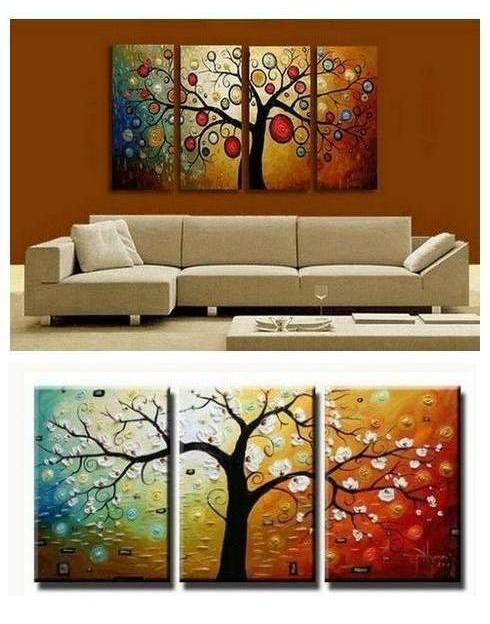 Palette Knife Painting Tree Of Life Painting Hand Painted Abstract Art 4 Piece Canvas Art Contemporary Art Modern Art Living Room Canvas Painting Large Canvas Painting Huge Wall Art Online painting for living room