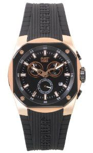 CAT WATCHES Men's T619321119 T6 Analog Watch CAT WATCHES. $216.00. Sub dial calendar. Water-resistant to 100 M (330 feet). Black dial. Black rubber strap. Luminous rose gold tone hands and markers. Save 18% Off!