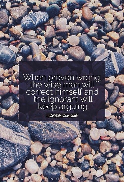 """""""When proven wrong, the wise man will correct himself and the ignorant will keep arguing."""" -Imam Ali (AS):"""