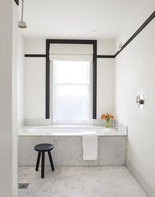 design labyrinth: bathroom with black trim