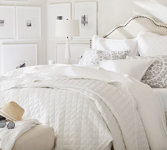 Belgian Flax Linen Diamond Quilt Amp Shams Flagstone Potterybarn Bed Linens Luxury Bed Linen Design White Quilt Bedding