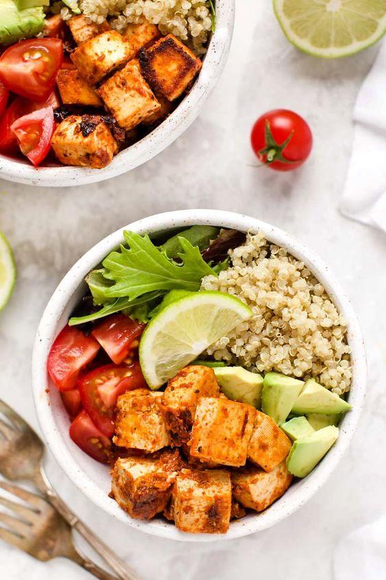 Meal Prep Chipotle Tofu Quinoa Bowls