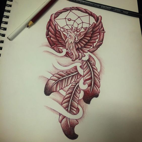 Phoenix Dreamcatcher… #sketchbook #colorpencil #prismacolorebony #tattoodesign #dreamcatcher #phoenix #bird #feathers #neededluxury #inklife #artlife #art #tatlyfe #indigo #artist #zay
