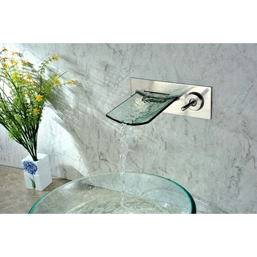 Clari Wall Mounted Brushed Nickel Glass Waterfall Spout Bathroom
