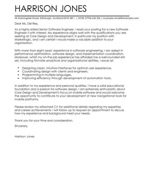 Cover Letter Template Software Engineer Cover Letter Example