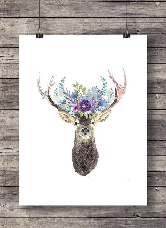 Couronne de fleur de pivoine guirlande florale de fleurs aquarelle cerf imprimable - Instant download
