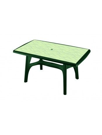 Tavolo rettangolare fisso in resina con struttura di vari colori e piano in varie decorazioni. Smontabile. Misure cm 150 x 90 x 73 h.