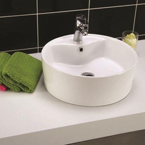 Noro dove 460 håndvask i porcelæn, rund, 460x160mm   byghjemme.dk ...