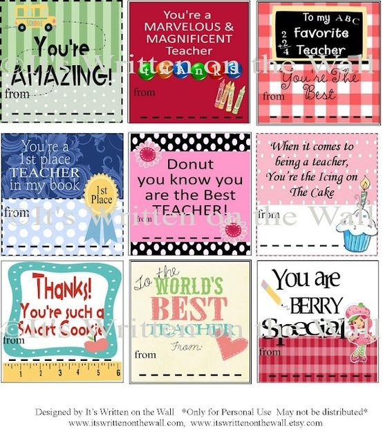 Free Printable Gift Tag Templates for teacher appreciation | Free ...