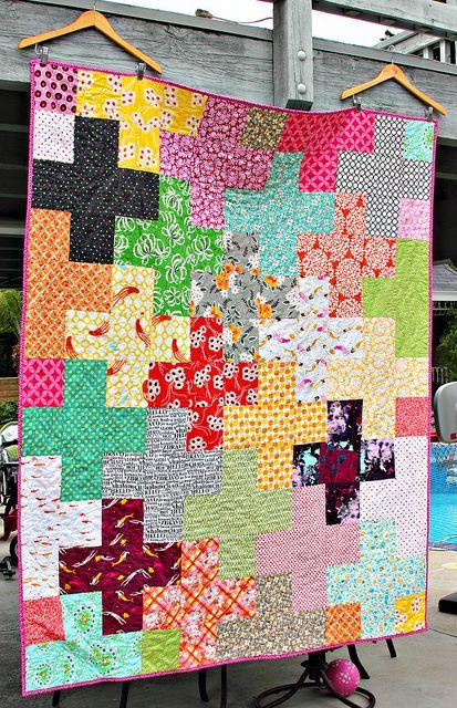Rainbow Plus Quilt by Darci - Stitches, via Flickr