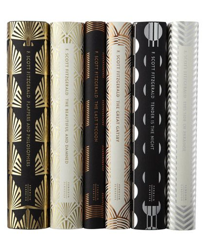 """Click through to see the fronts of these """"6 Stunning F. Scott Fitzgerald Book Covers"""" -- metallic and art deco, """"designed by none other than Penguin Books' own senior cover designer, Coralie Bickford-Smith."""""""