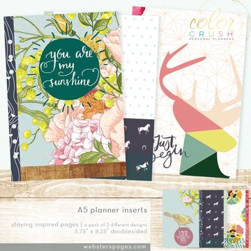 Included in the package are six A5 size inserts, 2 each of three designs, double-sided.