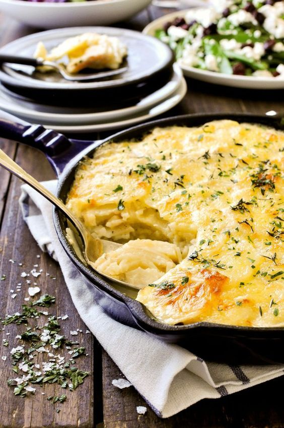 A creamy cheesy potato bake, a classic French dish by the Queen of French cooking, Julia Child. Just 15 minutes prep, and perfect for making ahead.