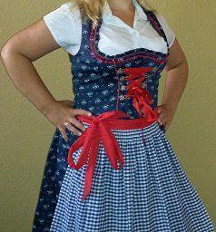 Almbock Damen Dirndl Midi, 2er-Set (knielanges Dirndl-Kleid mit Corsage und…
