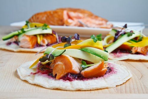 Salmon Bulgogi Tacos with Blueberry Habanero Salsa