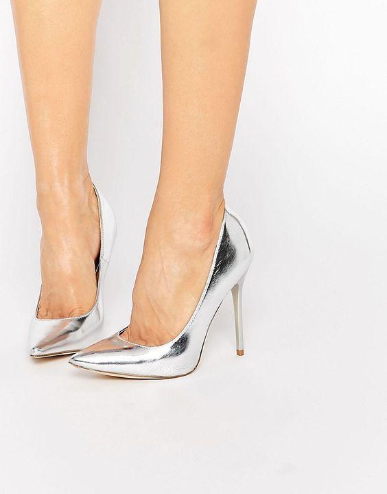 Public Desire Josie Silver Court Shoes