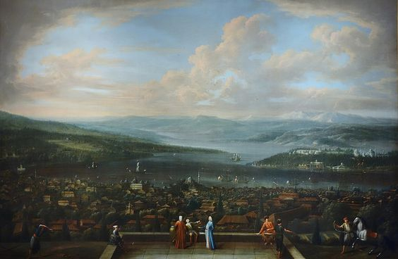 View of Istanbul from the Dutch Embassy at Pera, Jean Baptiste Vanmour, c. 1720 - c. 1737