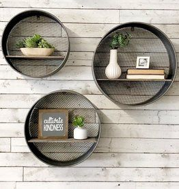 Round Metal Wood Shelves Set Of 3 Wall Shelf Decor Metal Tray