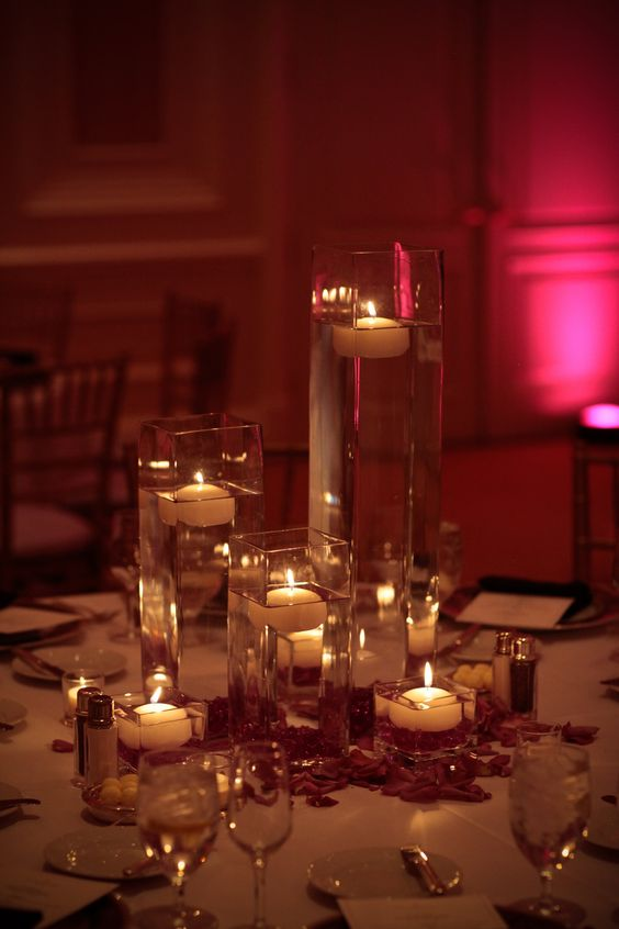 Floating candles engagement and vases on pinterest