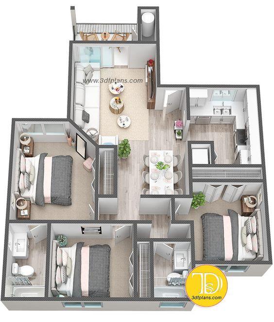 Denah Rumah Minimalis 3 Kamar Tidur 3D 22