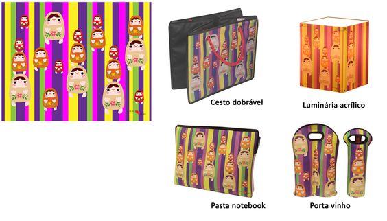 Desenvolvimento de estampa.  Criação de produtos com aplicação da estampa em tecidos, neoprene e acrílico.