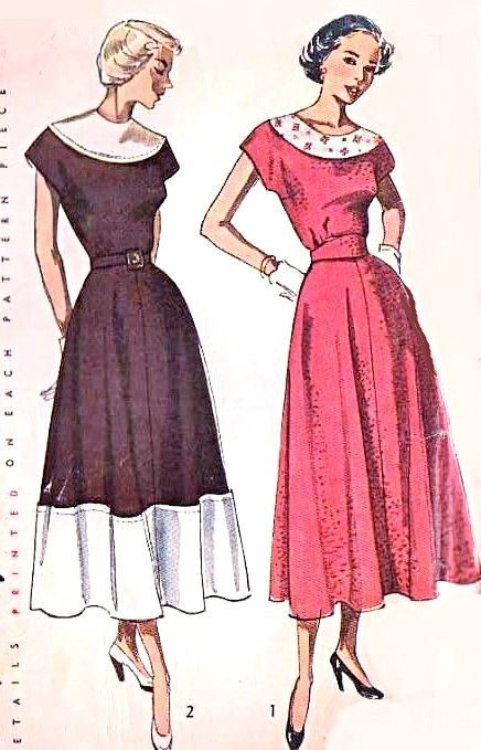 1940s Lovely Dress Pattern Flattering Flared Skirt, Contrasting Collar,Cap Sleeves Simplicity 2810 Vintage Sewing Pattern Bust 36