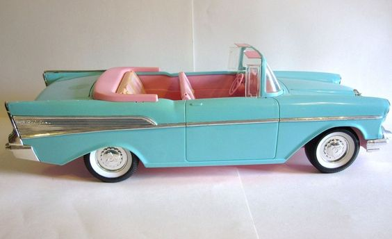 Wow: Vintage Barbie Doll Car 1957 Chevy Belair Convertible Mattel Turquoise Pink