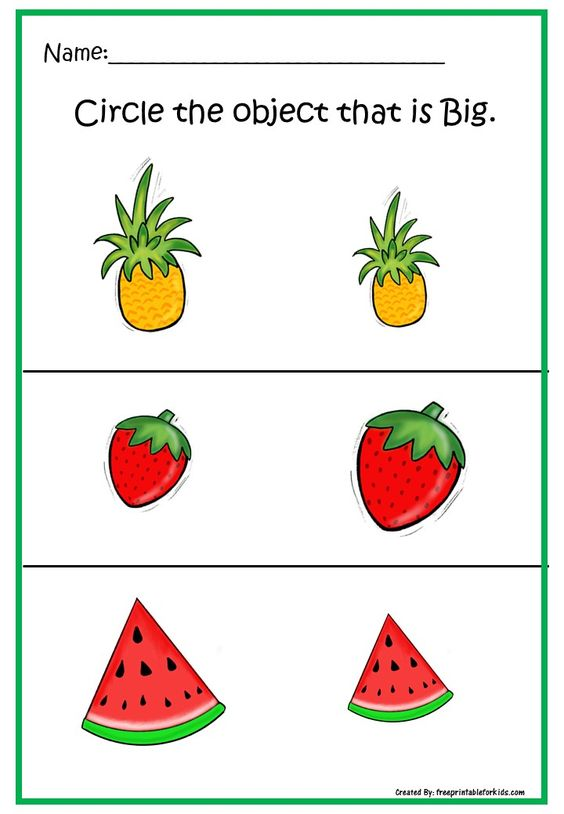 Fun FREE printable worksheets for Pre-K. Practice concept Big and Small.