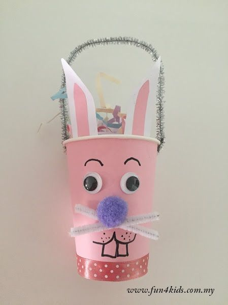 Bunny basket made from paper cup
