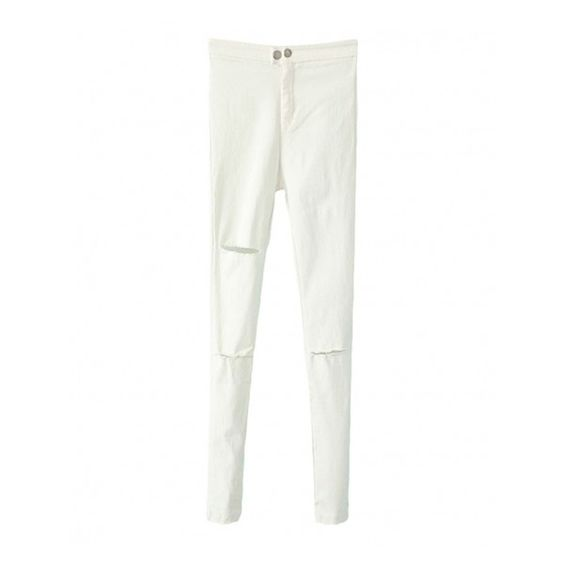 Distressed Solid-tone Skinny Long Pants (125 BRL) ❤ liked on Polyvore featuring pants and blackfive