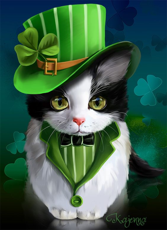 St.Patrick's Day - black and white kitty wearing green top hat, by artist Kajenna at deviantart.com: